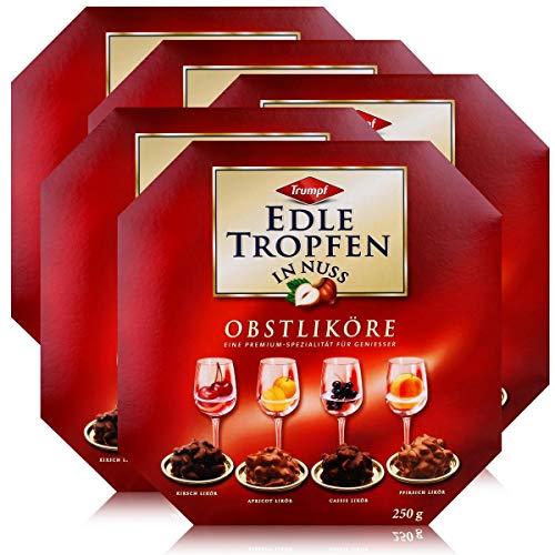 Trumpf Edle Tropfen in Nuss Obstliköre 250g - Pralinen mit Alkohol (5er Pack)