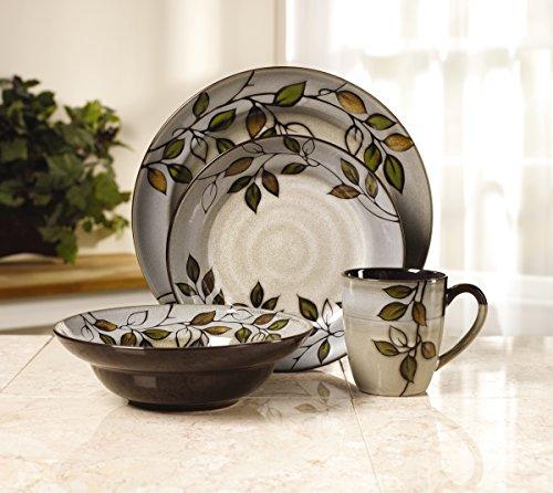 Pfaltzgraff Rustic Leaves 16-Piece Stoneware Dinnerware Set, Service for 4