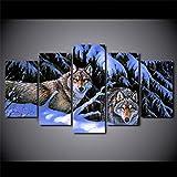 ZQDMYB HD 5 Unidades Lienzo Pinturas Impresas Nieve Lobos de Montaña Arte de la Pared Lona...