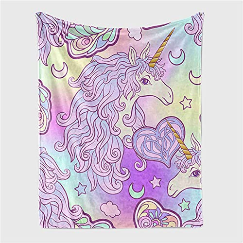KTMAID - Manta de forro polar con unicornio, mantas y mantas de forro polar de Sherpa, suave y cálida, para niñas, niños, regalo de cumpleaños (100 x 150 cm)