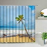 XCBN Sea Palm Tree Landscape Duschvorhänge Strandboot Ocean Scenery Print Wasserdichter Stoff Badezimmer Dekor Badvorhang A10 200x200cm