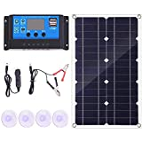 Fauge 100W Solar Panel Kit with Controller 12V/24V Battery Charger for Caravan & Boat Battery Charging Fast (50A)