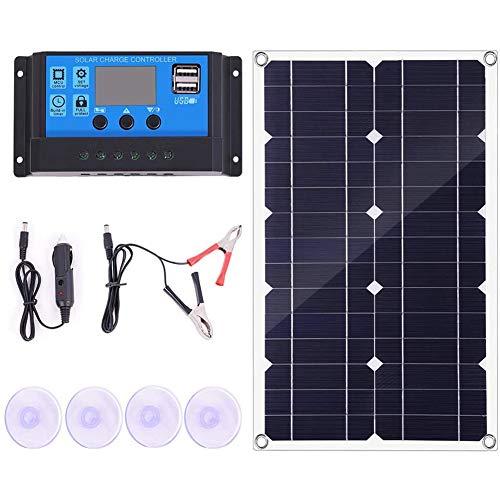 Cobeky Kit de panel solar de 100 W con controlador, cargador de batería de 12 V/24 V para caravana y barco, carga rápida de batería (50 A)