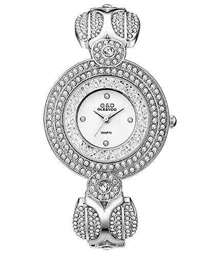CHXISHOP Reloj de la Pulsera de Las Mujeres Reloj de Cuarzo de Acero Inoxidable Redondo con Incrustaciones con Incrustaciones de Rhinestone de Acero del Reloj de Acero Silver