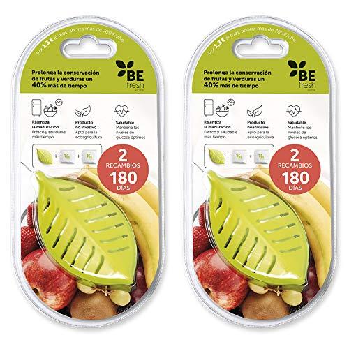 BEfresh Home |Pack 1 Año.Fruta y Verdura Fresca Durante Un 40% MÁS DE Tiempo. para Uso Dentro y Fuera de la Nevera. (2 Containers + 4 Sachets).