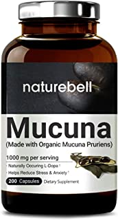 Organic Mucuna Pruriens Capsules 1000mg, 200 Counts, 30% Natural L-Dopa for Positive Mood, Relaxation and Restoration, No GMOs, Made with Organic Mucuna