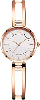 Wangyr Silver Rose Gold Women's Girl Lady Simple Hollow Ultra-thin 8mm Quartz Watch 35mm Solid Steel Belt Casual Fashion Waterproof Holiday Gift 3ATM Unique Fashion Classic Casual Luxury Business Dres
