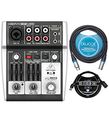 Behringer XENYX 302USB Mixer and USB Audio Interface for Windows and Mac Bundle with Blucoil 10-FT Balanced XLR Cable, and 3-FT USB 2.0 Type-A Extension Cable