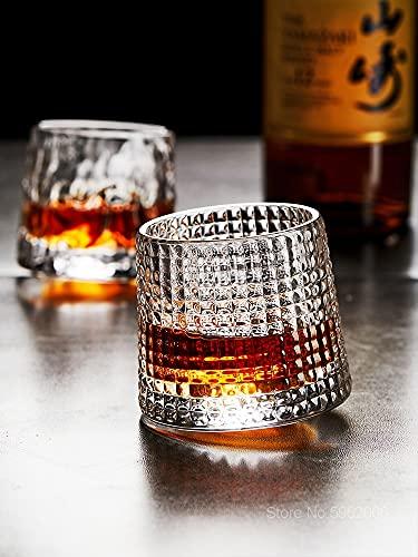 PPuujia Vaso de whisky giratorio 360° sin vertir copa de vino bar restaurante whisky Chivas Rock Glass (capacidad: 150 ml, color: patrón de martillo)
