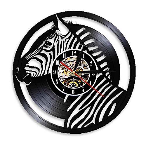 Tbqevc Zebra Head Disco de Vinilo Reloj de Pared Estilo Anti