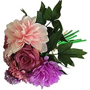 Artificial and Dried Flower Dahlia Roses Flowers Artificial Bouquet Silk Blooming Fake Peony Bridal Hand Flower Roses Wedding Centerpieces Decor