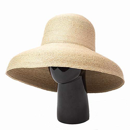 Capelines femme Panamas homme Paille Canotier Retro Dome Grand et détaillé chapeau de paille Raffa chapeau haut de la page Défilé de scène chapeau de soleil en plein air @ couleur à base de plantes