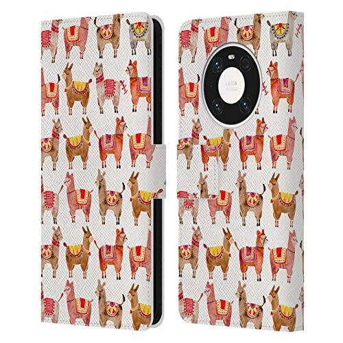 Head Case Designs Licenciado Oficialmente Cat Coquillette Alpacas Animales Carcasa de Cuero Tipo Libro Compatible con Huawei Mate 40 Pro 5G