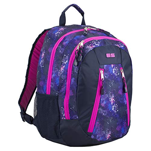 Eastsport Sport Backpack for School, Hiking, Travel, Climbing, Camping, Outdoors - Hot Pink/Navy Galaxy Print