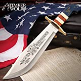 Timber Wolf 2020 American Independence Bowie with Sheath - 3Cr13 Stainless Steel Blade, Wood and Bone Handle, Brass Guard - Length 16'