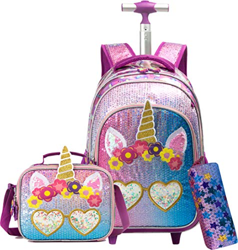 Unicorn Rolling Backpack for Girls Wheels Backpacks for Girls for School Sequin Backpack with Lunch Box for Elementary Students