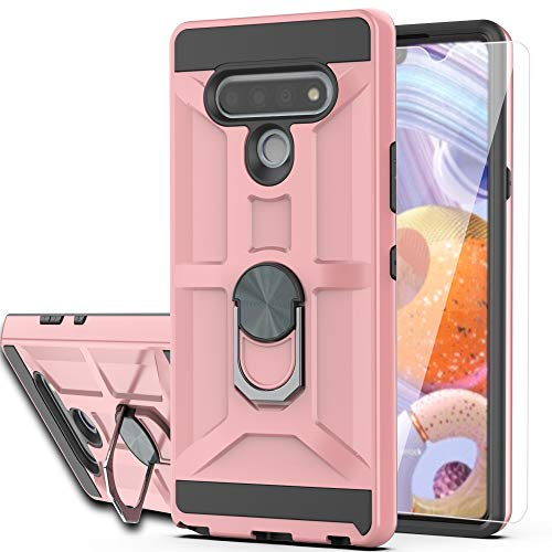 LG Stylo 6 Case LG Stylo 6 Phone Case with HD Screen Protector YmhxcY 360 Degree Rotating Ring Kickstand Holder Dual Layers of Shockproof Phone Case for LG Stylo 6-ZS Rose Gold