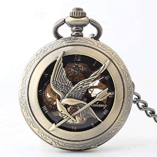 ZHTY Reloj de Bolsillo mecánico semiautomático, Juegos del Hambre, Reloj de Bolsillo de pájaro burlón, Espejo Hueco, Reloj de Bolsillo con Tapa de Vidrio orgánico, decoración