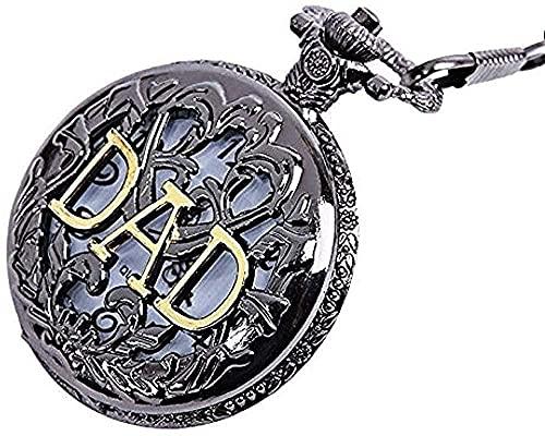 WYDSFWL Halskette Vintage Taschenuhr Papa Buchstaben Taschenuhr Hohle Bronze Anhänger Kette Geschenk Uhren für Vater Vater Geschenk