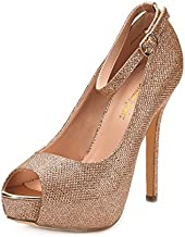 DREAM PAIRS Women's Swan-10 Champagne High Heel Plaform Dress Pump Shoes - 6 M US