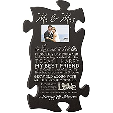 Mr & Mrs Always & Forever 4x6 Photo Frame 22 x 13 Wood Wall Art Puzzle Piece Plaque Frame