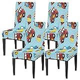 Juego de 4 fundas para sillas de comedor, con diseño de coche, lavable, protector de asiento extraíble para cocina, hotel, restaurante, fiesta ceremonia
