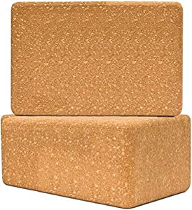 "Cork Yoga Block Log Series2 Pack Set-Natural Cork from Europe, 9""x6""x4"" Yoga Block Non-Slip&Anti-Tilt for Women| Men, Lightweight, Odor-Resistant and Moisture-Proof from Volcano Group"