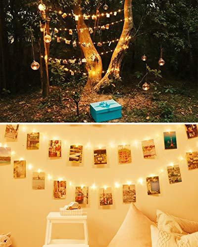 LED Fotoclips Lichterkette für Zimmer Deko, Litogo 10M 100LED Lichterkette mit 60 Klammern für Fotos Lichterkette Wand Batteriebetriebene Lichterkette Bilder für Wohnzimmer, Weihnachten, Hochzeiten - 2