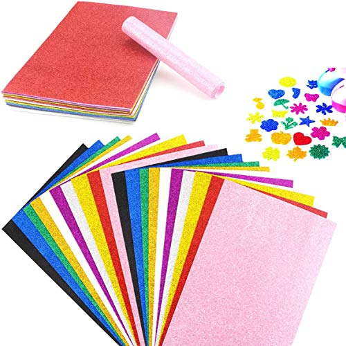 "BcPowr 30PCS EVA Glitter Craft Foam Sheets, Foamie Sheets Rainbow Foam Handicraft Sheets Crafting Sponge For Arts DIY Projects, Classroom, Scrapbooking, Parties Thick & Soft Paper (10 Color, 12"" x 8"")"
