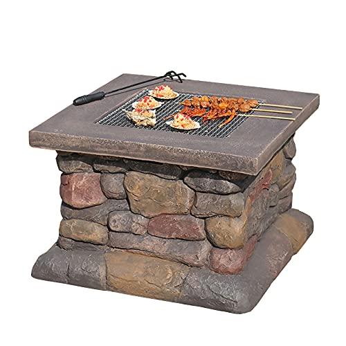 Brasero Exterior Mesa de Fuego de Fuego con Parrilla, Barbacoa, Calentador, Helado 3 en 1 Cuadrado de Madera ardiente de Fuego (Color : Style1)