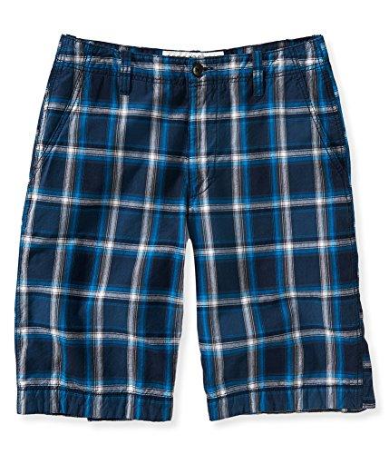 Aeropostale Mens Plaid Casual Walking Shorts, Blue, 27