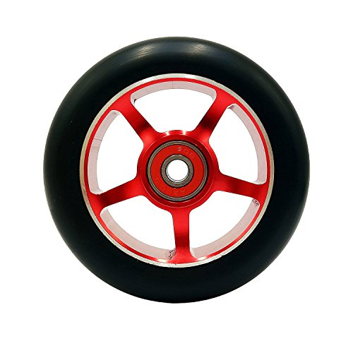 Replacement Parts Metal Core 100mm Stunt Pro Scooter Wheel with Bearings High Elasticity Wear Resistance (red)