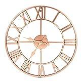DGHJK Relojes de Pared de Metal Dorado Rosa de 16 Pulgadas - Reloj de Pared silencioso Calado Romano de diseño Simple - para decoración del hogar Sala de Estar