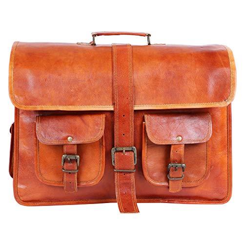 GNG - Leather Briefcase Laptop Bag 18 inch Handmade Messenger Bags Best Satchel - 2 POCKET