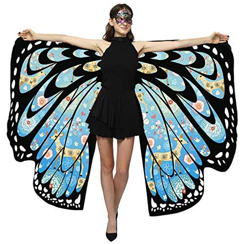 TEBAISE Schmetterling Kostüm Damen Kostüm Mäntel Umhänge Erwachsene Flügel 2019 Weihnachten Frauen Schmetterlingsflügel Schal Poncho Faschingkostüme Kostümzubehör Für Weihnachten Cosplay Party