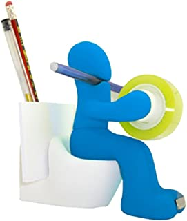 Huphoon Creative Office Supply Seat Toilet Shaped Station Desk Accessory Holder-Memo Pad Holder,Paper Clip Storage,Tape Dispenser (Sky Blue)