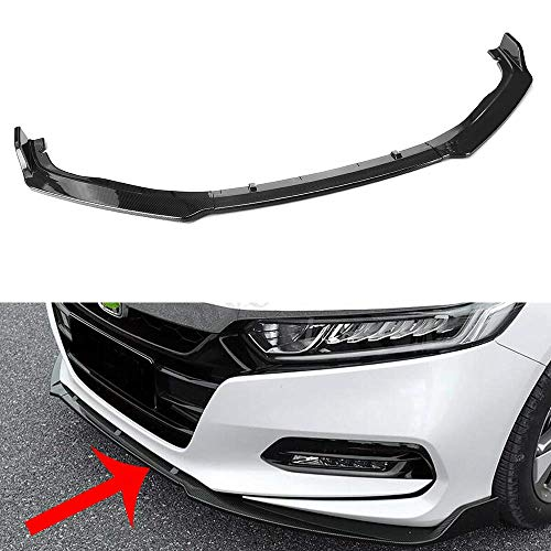 MotorFansClub 3pcs Front Bumper Lip Fit For Compatible With Honda Accord 2018 2019 Splitter Trim Protection Spoiler, Carbon Fiber