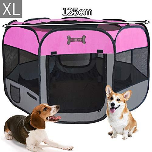 MC Star Portátil Parque Corral Oxford Cachorro Animales para Perros, Gatos, Conejos y Pequeño Animales, 125 x 125 x 64 cm, (Rosa)