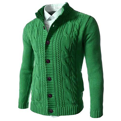 Chaqueta de Punto con Cuello levantado para Hombre Suéter clásico de un Solo Pecho Cárdigan cálido Informal de Punto Trenzado Retro de Color sólido 3X-Large