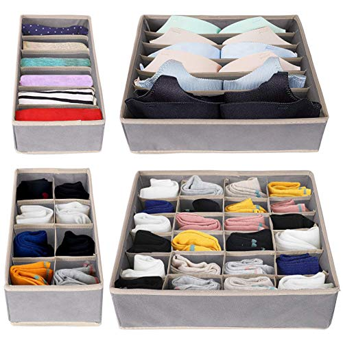 Owoda 4 Sets Underwear Drawer Organiser, Foldable Wardrobe Dividers, Closet Storage Box, Bedroom Containers for Bra Socks Tie Belt Scarves - Grey