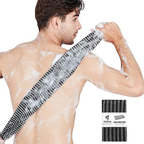 Exfoliating Back Scrubber, Korean Body Back Scrubber Towel For Shower, Japanese Bath Wash Scrub Cloth Washcloth Washer for Men Women Exfoliation, Body Scrubbing Brush Loofah Exfoliator (Stripe Black)