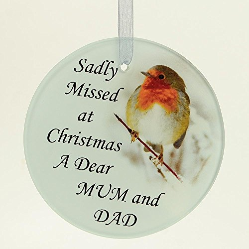 Angraves Mum & Dad Christmas Robin Memorial Tree Hanging Decoration Gift Plaque MomentoTribute Ornament