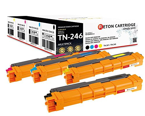 4 Original Reton Toner je 2.800 Seiten CYM, Schwarz 3.200 Seiten kompatibel zu TN-242 TN-246 für Brother HL-3142cw HL-3152cdw HL-3172cdw MFC-9332cdw MFC-9142cdn MFC-9342cdw DCP-9022cdw