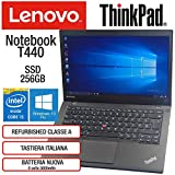 "Lenovo ThinkPad T440 Intel Core i5-4300U 8GB RAM Scheda Video Intel HD SSD 256GB Display 14"" HD Win 10 Pro MAR Nero (Ricondizionato)"