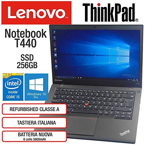 Lenovo ThinkPad T440 Intel Core i5-4300U 8GB RAM Scheda Video Intel HD SSD 256GB Display 14' HD Win 10 Pro MAR Nero (Ricondizionato)