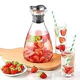 ecooe Glaskaraffe 1500ml (Volle Kapazität) Glaskrug aus Borosilikatglas Wasserkrug mit Edelstahl Deckel Karaffe Glaskanne mit Edelstahldeckel - 7
