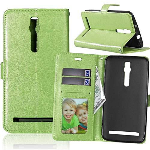 Wenlon Handy PU Hülle für Asus ZenFone 2 ZE550ML Deluxe ZE551ML 5.5inch, Hochwertige Business Kunstleder Flip Wallet Handyhülle mit Card Slot Funktion, Bracket Funktion - Grün