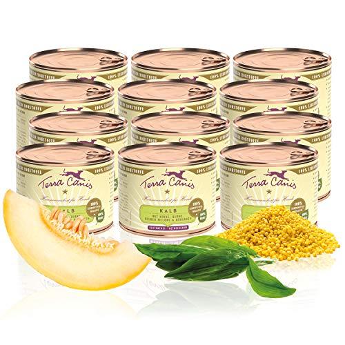 Terra Canis Classic Nassfutter I Reichhaltiges & gesundes Premium Hundefutter in echter Lebensmittelqualität mit Kalb, Gurke & Gelber Melone I 12 x 200g, allergenarm, getreidearm & glutenfrei