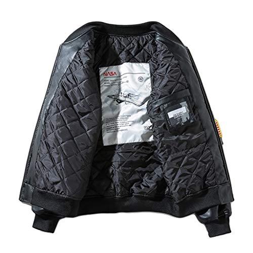 YMXYMM Bomber-Lederjacke Fliegerjacke Herren Vintage-Stehkragen Biker Moderne Coats Baseball Outwear,Black2-2XL