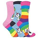 Calcetines de rayas arcoíris para mujer | Calcetines de algodón ricos | Pack de 3 (4-7, unicornio arcoiris)
